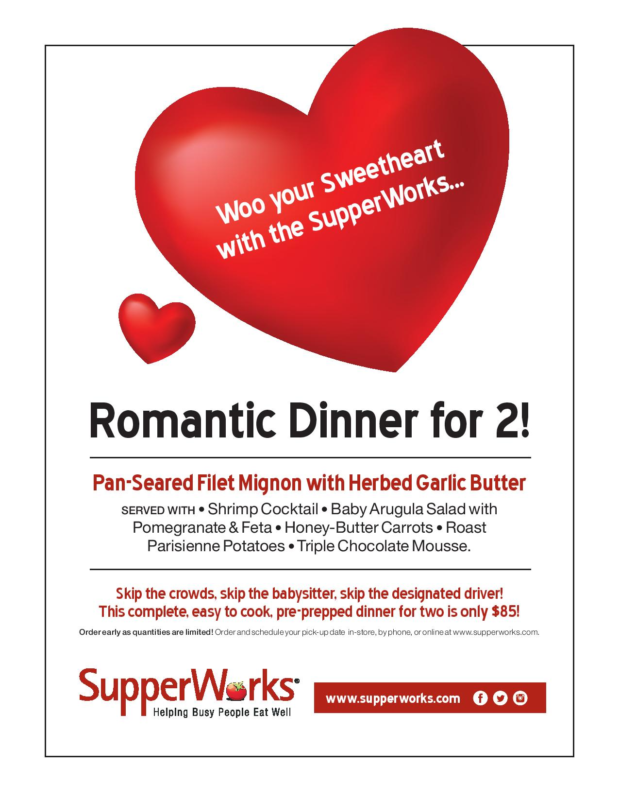 Valentines Special For Wbn Members Romantic Dinner For 2 With Supperworks