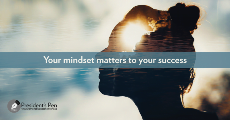 Mindset matters: Silhouette of woman's head with a growth mindset. Text overlay: Your mindset matters to your success